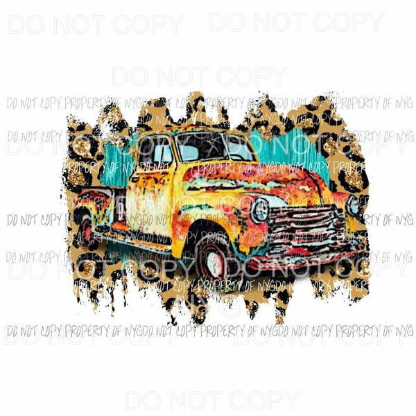 Vintage Truck multi color and leopard background watercolor Sublimation transfers Heat Transfer