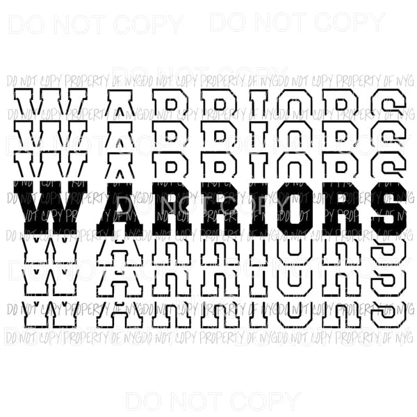 Warriors mirrored Sublimation transfers Heat Transfer