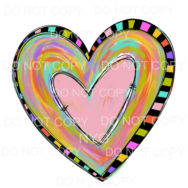 Watercolor Swirl Heart Black Color Squares Outline