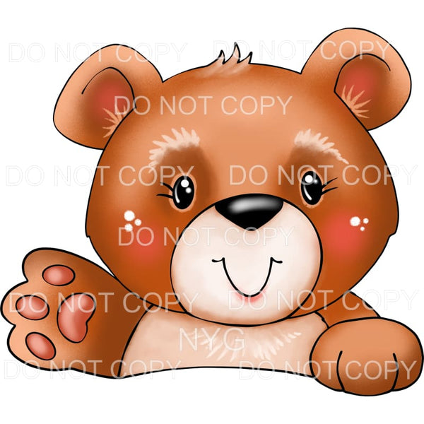 Waving Brown Bear Sublimation transfers - Heat Transfer