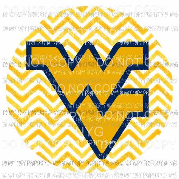 West Virginia Mountaineers chevron circle Sublimation transfers Heat Transfer