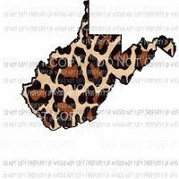West Virginia state outline leopard print Sublimation transfers Heat Transfer