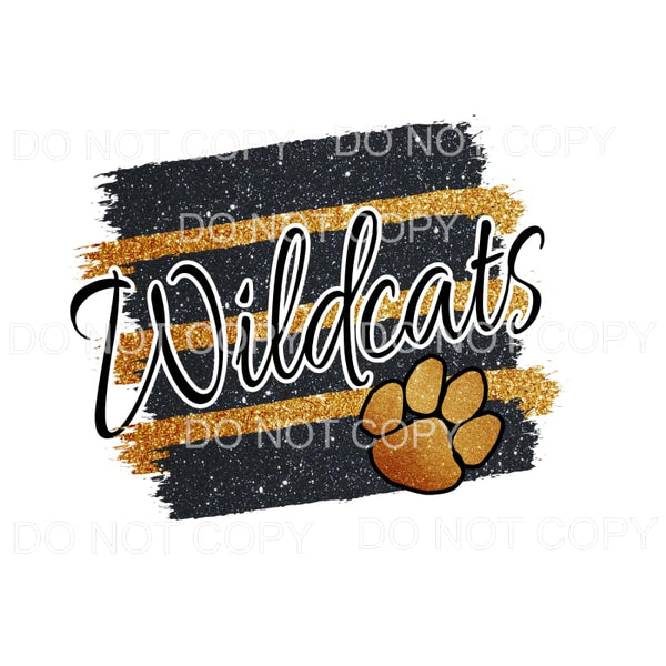 Wildcats Black and Gold Paint Pallet Sublimation transfers -