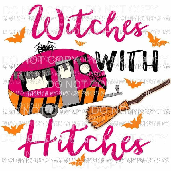 Witches with Hitches camper broom bats Sublimation transfers Heat Transfer