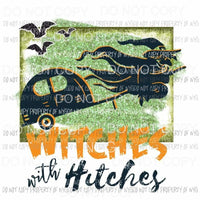 Witches with Hitches green orange broom camper witch Sublimation transfers Heat Transfer