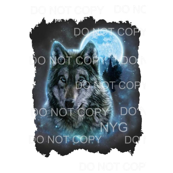 Wolf Full Moon Blue Sublimation transfers - Heat Transfer