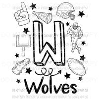 Wolves football spirit doodle Sublimation transfers Heat Transfer