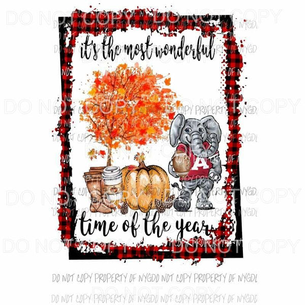 wonderful time of the year fall ALABAMA Sublimation transfers Heat Transfer