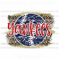 Yankees baseball leopard Sublimation transfers Heat Transfer