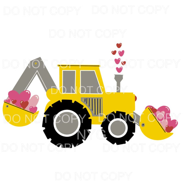 Yellow Bulldozer Pink Hearts Sublimation transfers - Heat