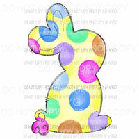 Yellow Colorful Polka Dot Bunny Sublimation transfers Heat Transfer