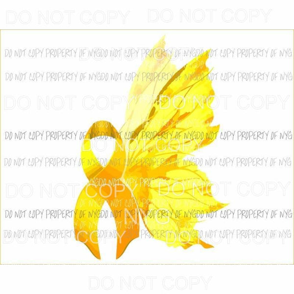 Yellow Ribbon Butterfly Wings Sublimation transfers Heat Transfer