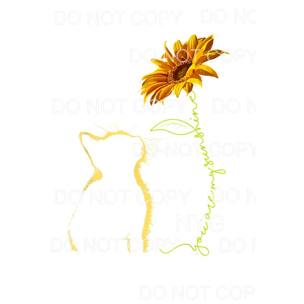 You Are My Sunshine Cat Silhouette Sunflower Sublimation