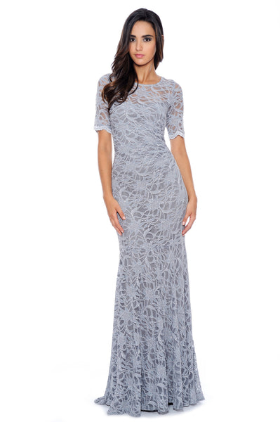 Magnificent Lace 3/4 Sleeves Floor Length Maxi - Silver