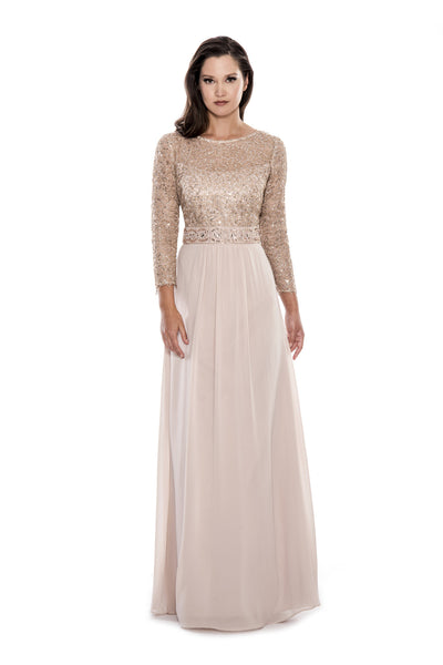 Long Sleeve Glitzy Full Length Gown
