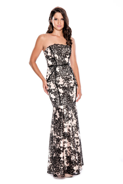 Strapless Black & White Floral Gown