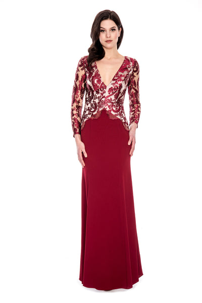V-Neck Burgundy Illusion Gown By Decode 1.8