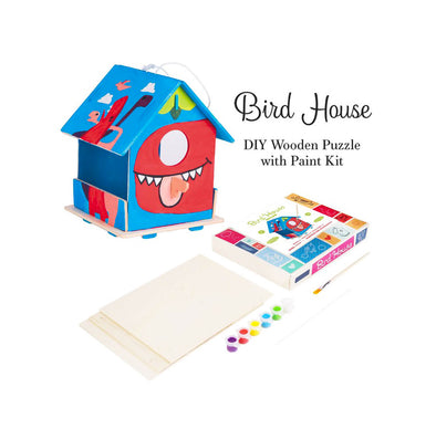 DIY 3D Wooden Birdhouse with Paint Kit Style 1