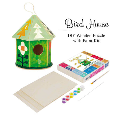 DIY 3D Wooden Birdhouse with Paint Kit Style 2