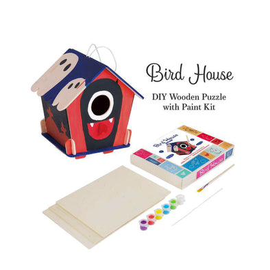 DIY 3D Wooden Birdhouse with Paint Kit Style 3