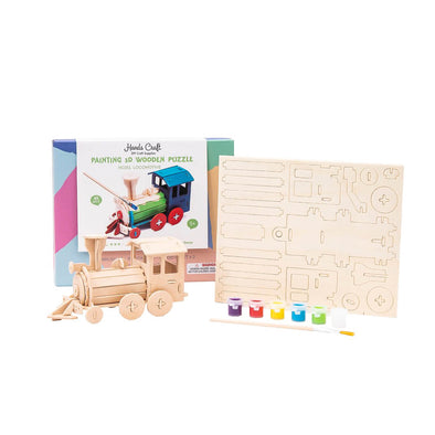 DIY Locomotive 3D Wooden Puzzle Paint Kit