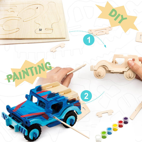 DIY SUV 3D Wooden Puzzle Paint Kit