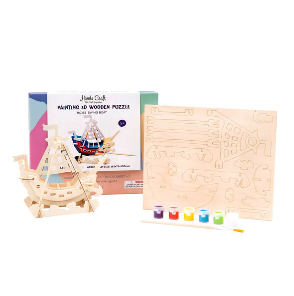 DIY Swing Boat 3D Wooden Puzzle Paint Kit