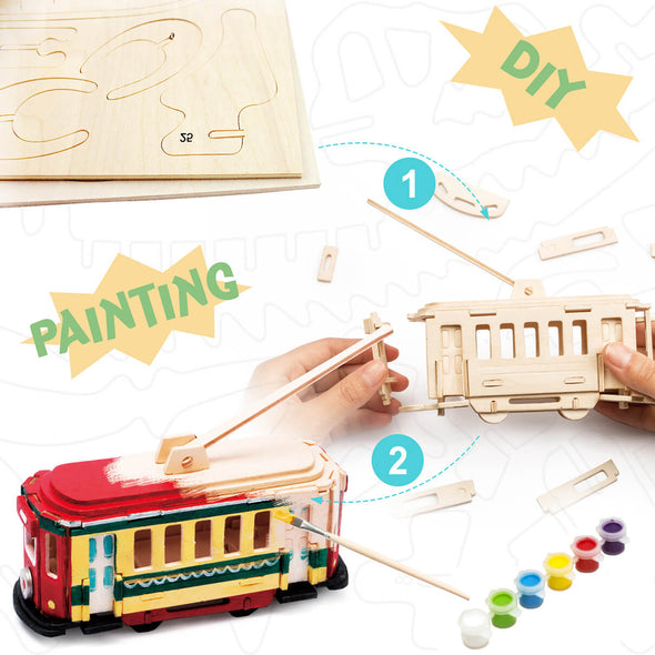 DIY Trolley 3D Wooden Puzzle Paint Kit
