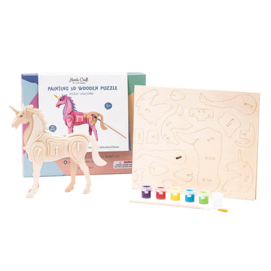 DIY Unicorn 3D Wooden Puzzle Paint Kit