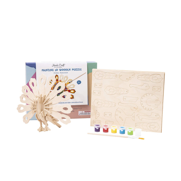 DIY Peacock 3D Wooden Puzzle Paint Kit