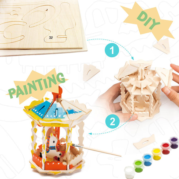 DIY Carrousel 3D Wooden Puzzle Paint Kit