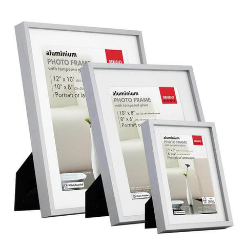 3 Pack Photo Frame Aluminium Silver Various Sizes Tempered Safety Glass