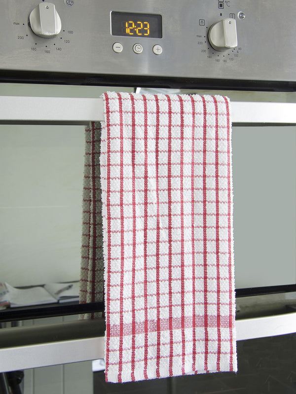 100% Natural Cotton Terry Tea Towels | Soft Vintage Kitchen 5 Pack | Large 45 x 65cm | Red