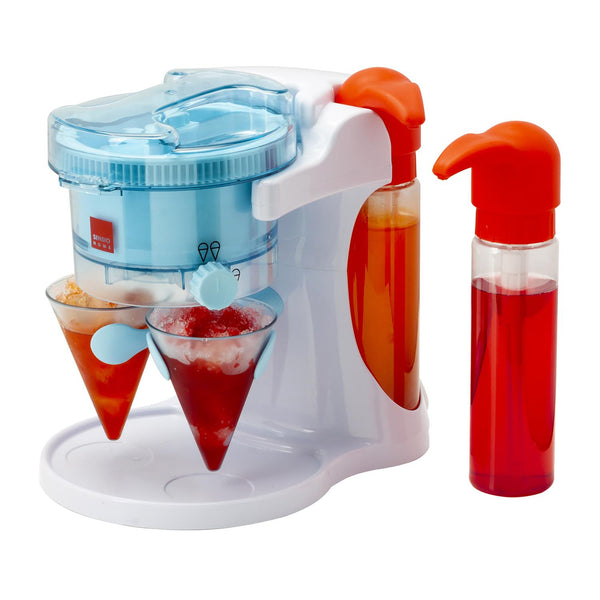 Sensio Home Snow Cone, Crushed Ice, Slushie Cocktail Maker - Kid Friendly Shaved Ice Machine with 2 Reusable Slush Cones (Slushy Cups) and 2 Dispensing Syrup Bottles