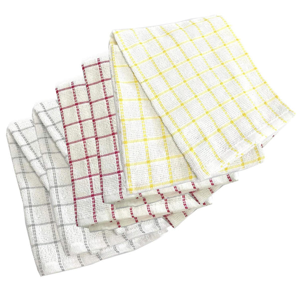 100% Natural Cotton Terry Tea Towels | Soft Vintage Kitchen 5 Pack | Large 45 x 65cm | Multicoloured