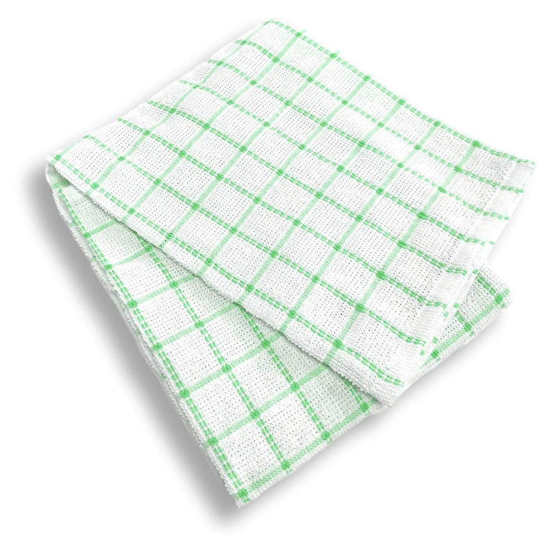 100% Natural Cotton Terry Tea Towels | Soft Vintage Kitchen 5 Pack | Large 45 x 65cm | Green