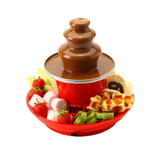 Global Gourmet by Sensio Home Mini Chocolate Fountain Fondue Set With Party Serving Tray Included