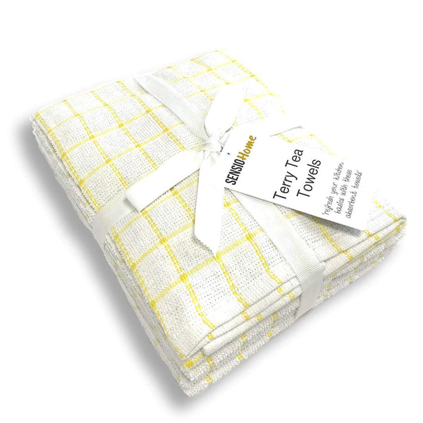 Sensio Home 100% Natural Cotton Terry Tea Towels | Soft Vintage Kitchen 5 Pack | Large 45 x 65cm | Yellow