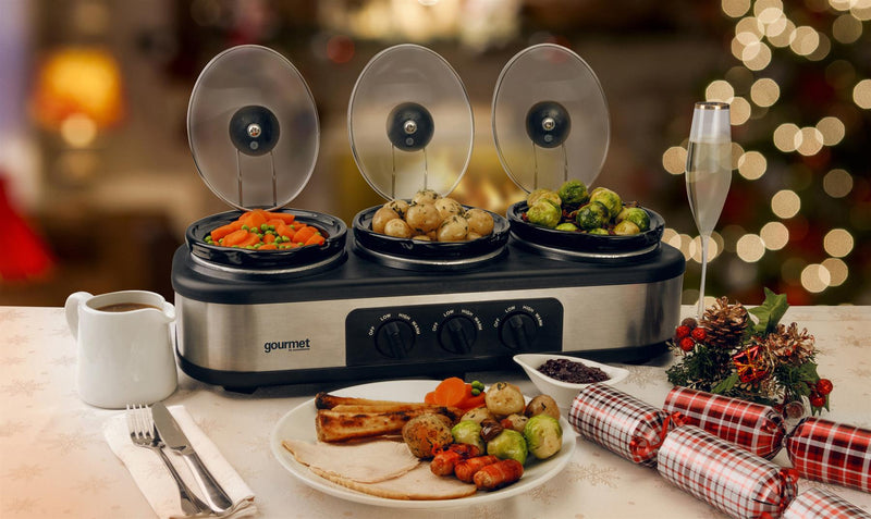 Global Gourmet by Sensio Home Triple Slow Cooker | Food Warmer, Buffet Server & Bain Marie