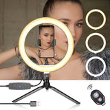10 Inch Selfie Ring Light with Tripod Stand & Cell Phone Holder for Live Stream Makeup Mini Led Camera for YouTube