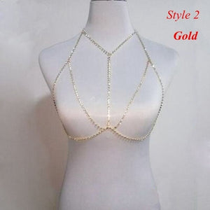 Collection of Crystal Rhinestone Bra Chest Body Chain