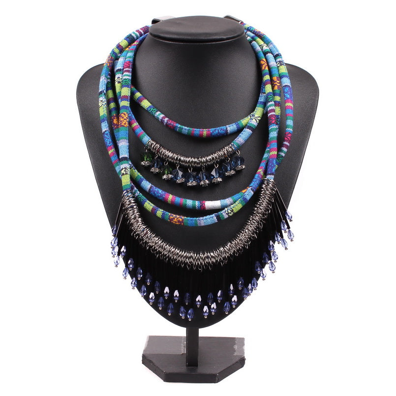 Ethnic inspired  5 Roll Teardrop Acrylic bead Necklace/collar