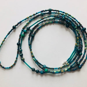 Teal and Turqoise Body Jewelry Waist 32.5""