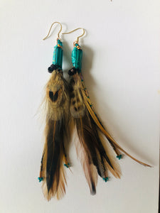 Turquoise and Wood Common Feather