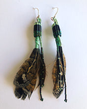 Load image into Gallery viewer, Moss Green Feather Earrings