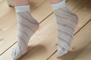Ankle High Stockings D-2044-Light-Blue