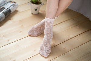 Ankle High Stockings D-2045-Light-Pink