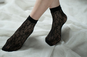 Ankle High Stockings D-2054-Black