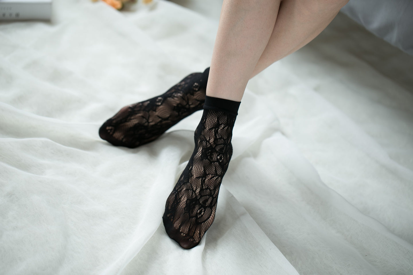 Ankle High Stockings D-2055-Black