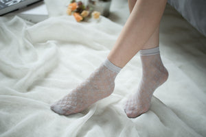 Ankle High Stockings D-2056-Gray